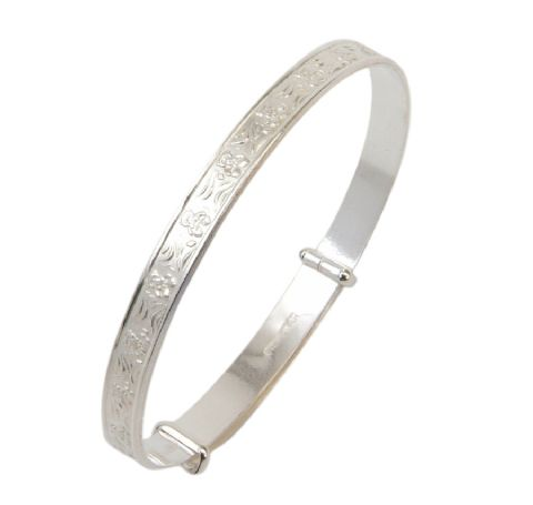 Sterling Silver Childrens Bangle with Seated Teddy Design